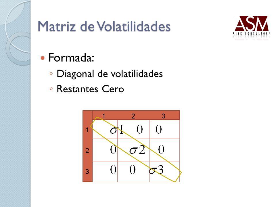 Matriz de Volatilidades Formada: Diagonal de volatilidades Restantes Cero 1 2 3 123