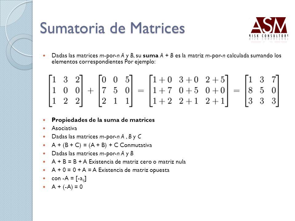 Sumatoria de Matrices Dadas las matrices m-por-n A y B, su suma A + B es la matriz m-por-n calculada sumando los elementos correspondientes Por ejempl