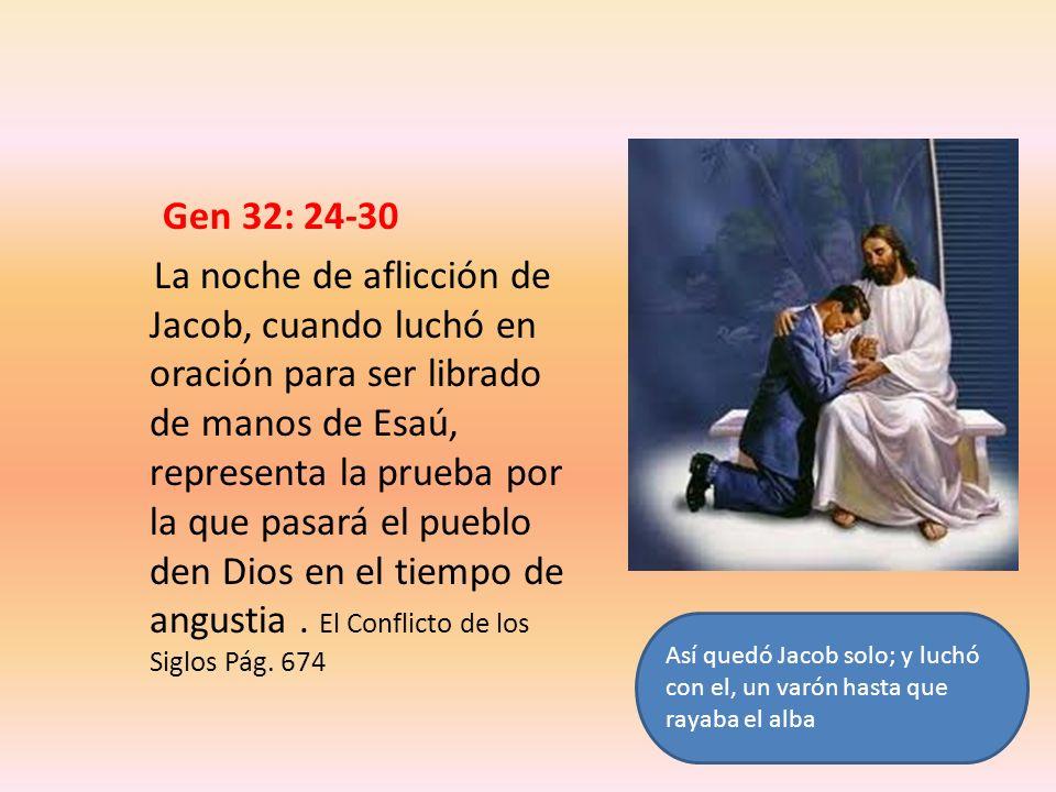 Gen 32: 24-30 La noche de aflicción de Jacob, cuando luchó en oración para ser librado de manos de Esaú, representa la prueba por la que pasará el pue