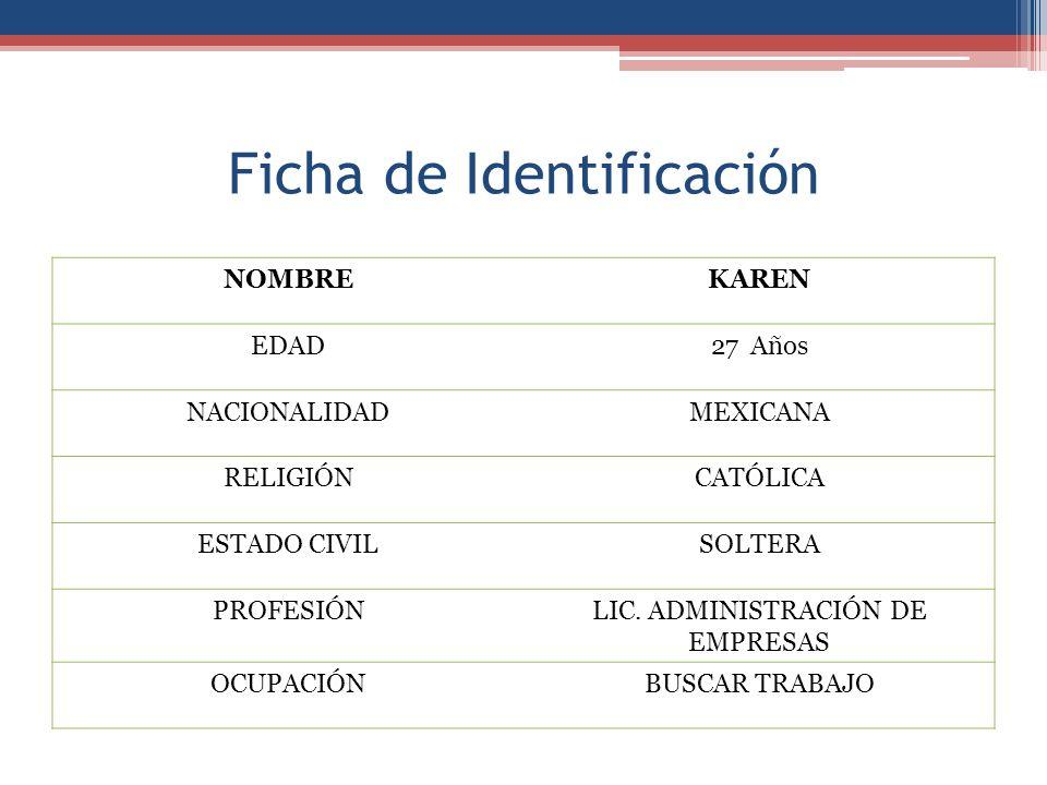 Ficha de Identificación NOMBREKAREN EDAD27Años NACIONALIDADMEXICANA RELIGIÓNCATÓLICA ESTADO CIVILSOLTERA PROFESIÓNLIC. ADMINISTRACIÓN DE EMPRESAS OCUP