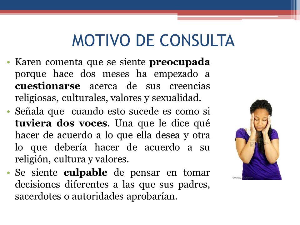 MOTIVO DE CONSULTA Asimismo comenta que le ha sido difícil no poder establecer una relación afectiva con alguien.