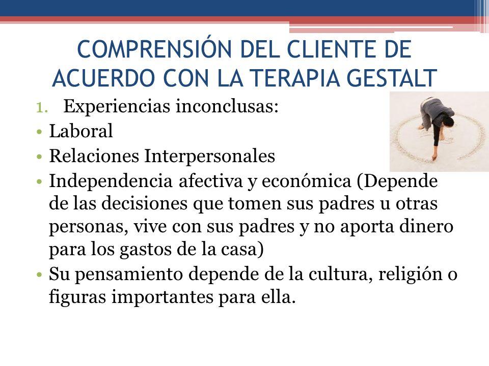 COMPRENSIÓN DEL CLIENTE DE ACUERDO CON LA TERAPIA GESTALT 1.Experiencias inconclusas: Laboral Relaciones Interpersonales Independencia afectiva y econ