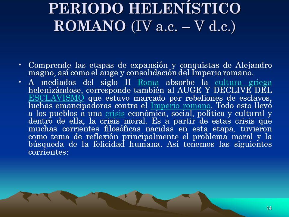 14 PERIODO HELENÍSTICO ROMANO (IV a.c. – V d.c.) Comprende las etapas de expansión y conquistas de Alejandro magno, así como el auge y consolidación d