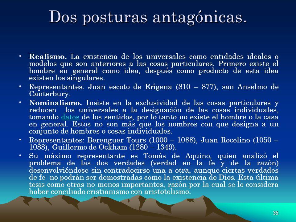 35 Dos posturas antagónicas. Realismo. La existencia de los universales como entidades ideales o modelos que son anteriores a las cosas particulares.