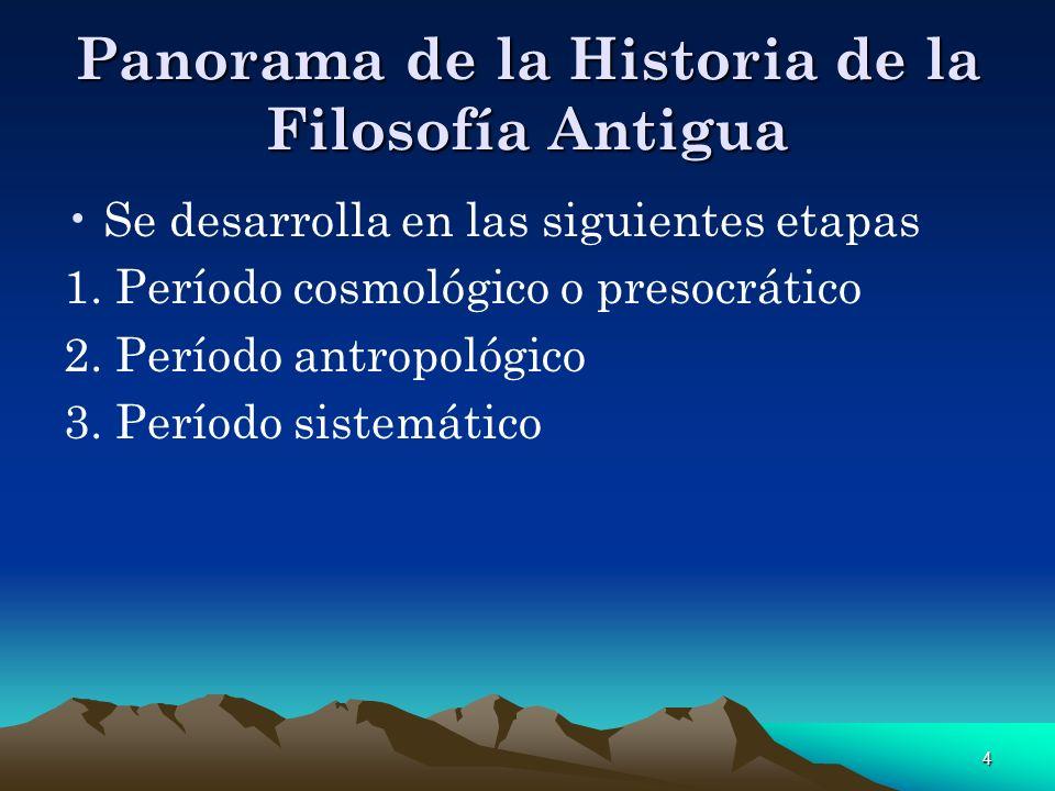 4 Panorama de la Historia de la Filosofía Antigua Se desarrolla en las siguientes etapas 1. Período cosmológico o presocrático 2. Período antropológic