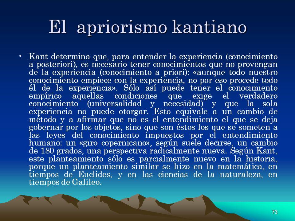 73 El apriorismo kantiano Kant determina que, para entender la experiencia (conocimiento a posteriori), es necesario tener conocimientos que no proven