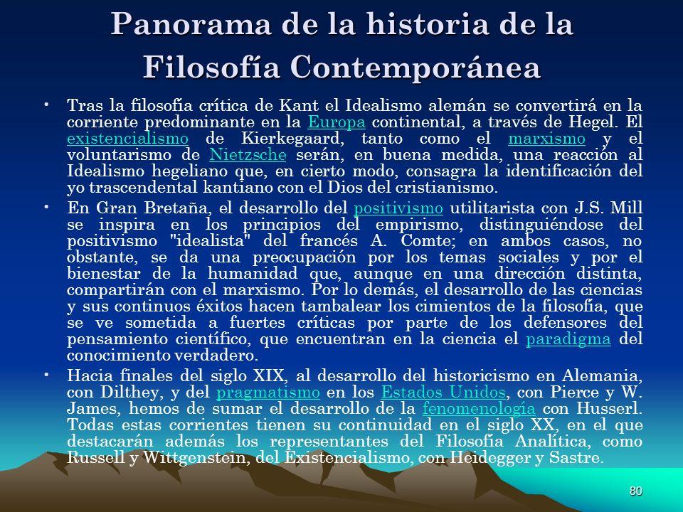 80 Panorama de la historia de la Filosofía Contemporánea Tras la filosofía crítica de Kant el Idealismo alemán se convertirá en la corriente predomina