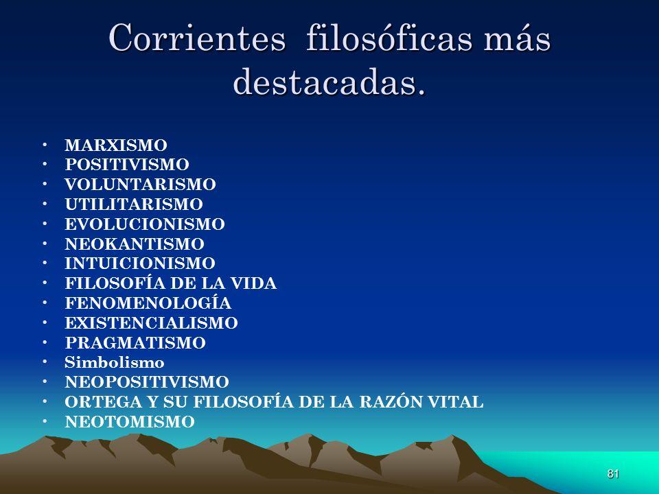 81 Corrientes filosóficas más destacadas. MARXISMO POSITIVISMO VOLUNTARISMO UTILITARISMO EVOLUCIONISMO NEOKANTISMO INTUICIONISMO FILOSOFÍA DE LA VIDA
