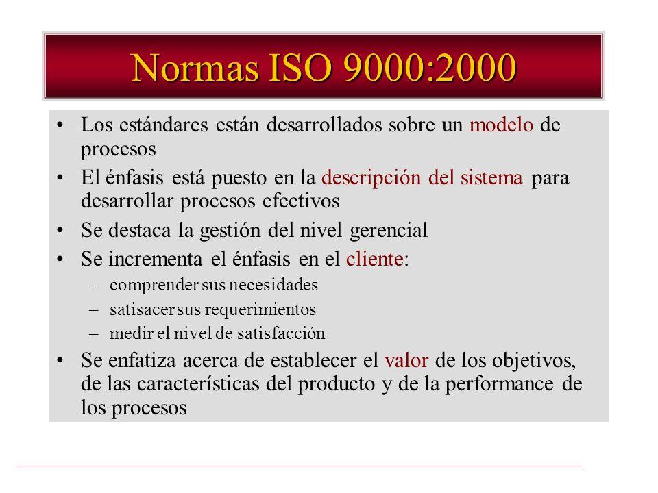 Normas ISO 9000:2000 Los estándares están desarrollados sobre un modelo de procesos El énfasis está puesto en la descripción del sistema para desarrol