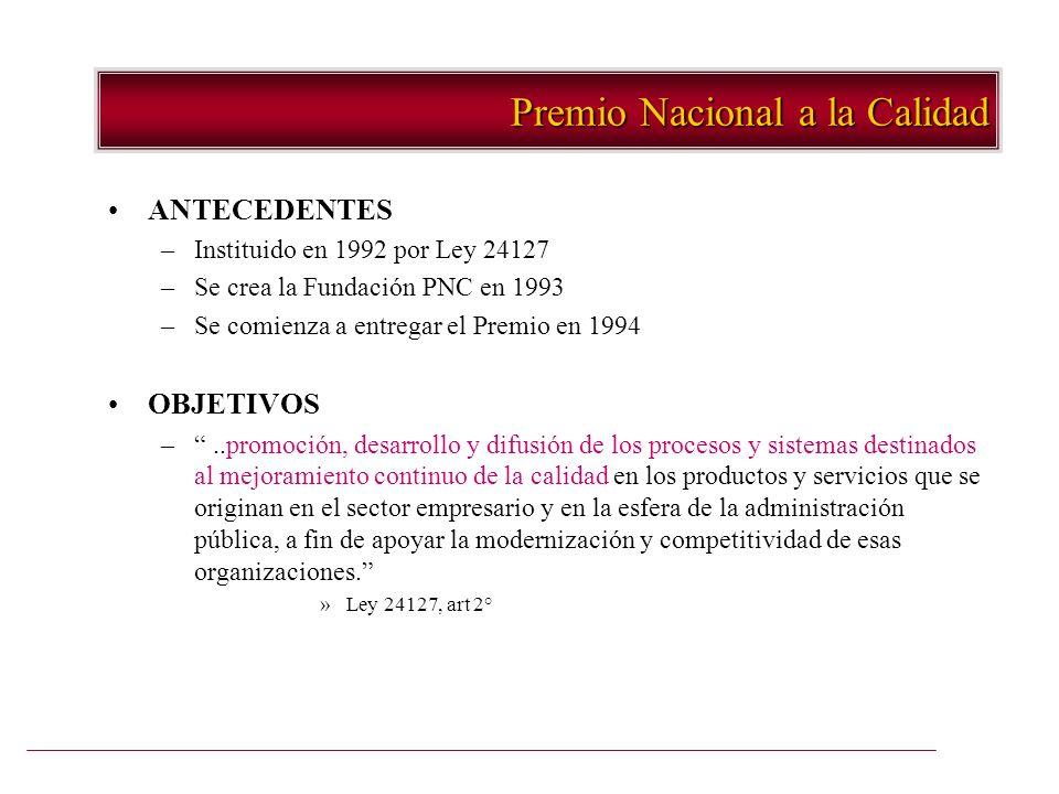 Premio Nacional a la Calidad ANTECEDENTES –Instituido en 1992 por Ley 24127 –Se crea la Fundación PNC en 1993 –Se comienza a entregar el Premio en 199