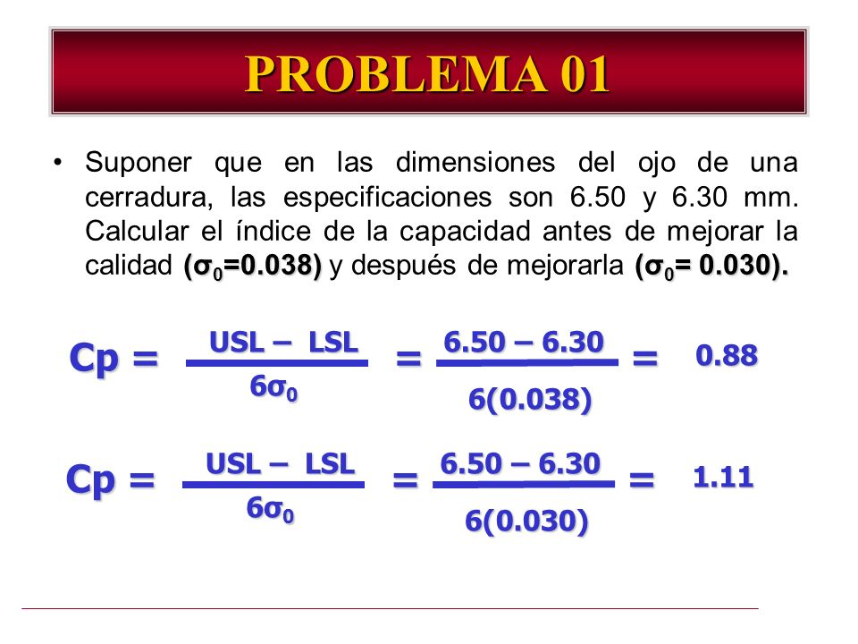 PROBLEMA 01 USL – LSL Cp = 6σ06σ06σ06σ0 = 6.50 – 6.30 6(0.038) =0.88 (σ 0 =0.038)(σ 0 = 0.030).Suponer que en las dimensiones del ojo de una cerradura