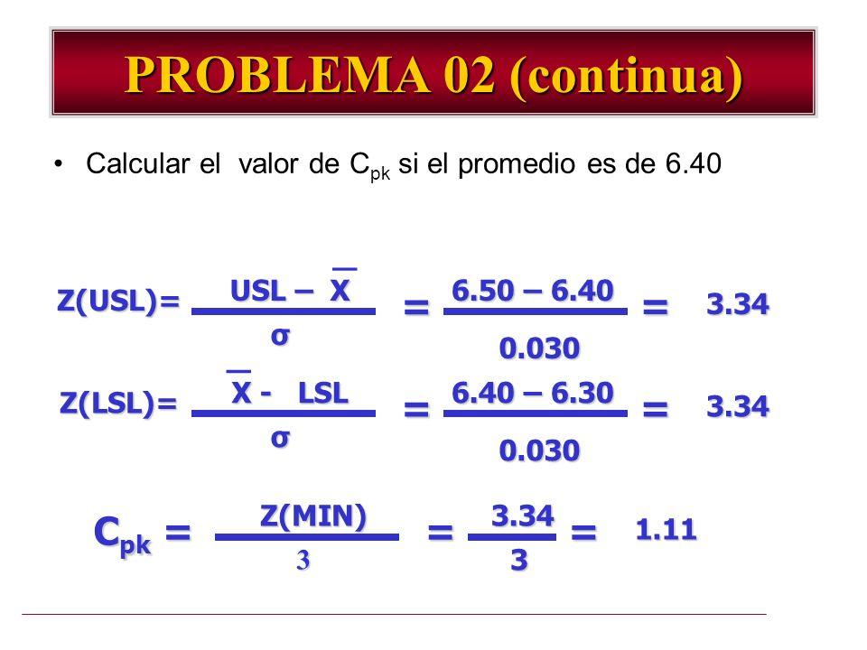 PROBLEMA 02 (continua) Calcular el valor de C pk si el promedio es de 6.40 USL – X Z(USL)= σ = 6.50 – 6.40 0.030 =3.34 _ X - LSL Z(LSL)= σ = 6.40 – 6.
