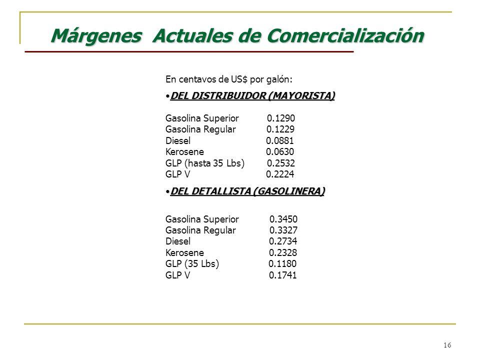 16 Márgenes Actuales de Comercialización En centavos de US$ por galón: DEL DISTRIBUIDOR (MAYORISTA)DEL DISTRIBUIDOR (MAYORISTA) Gasolina Superior 0.12
