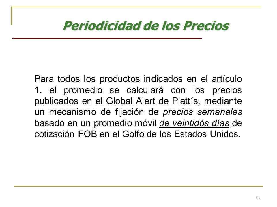 17 Periodicidad de los Precios Para todos los productos indicados en el artículo 1, el promedio se calculará con los precios publicados en el Global A