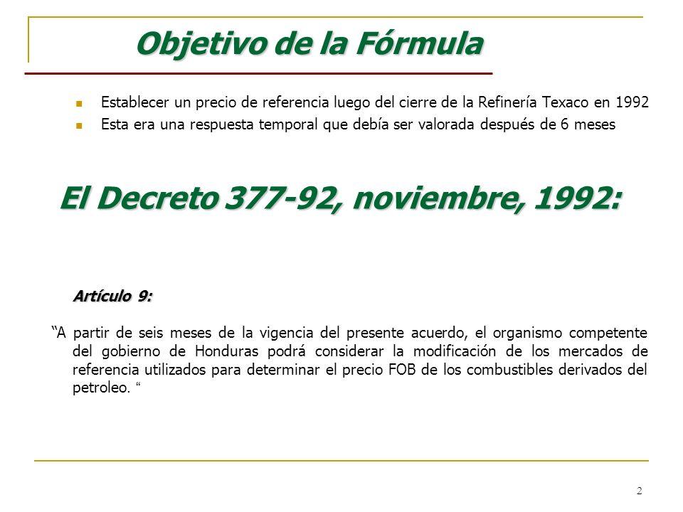 2 Objetivo de la Fórmula Establecer un precio de referencia luego del cierre de la Refinería Texaco en 1992 Esta era una respuesta temporal que debía