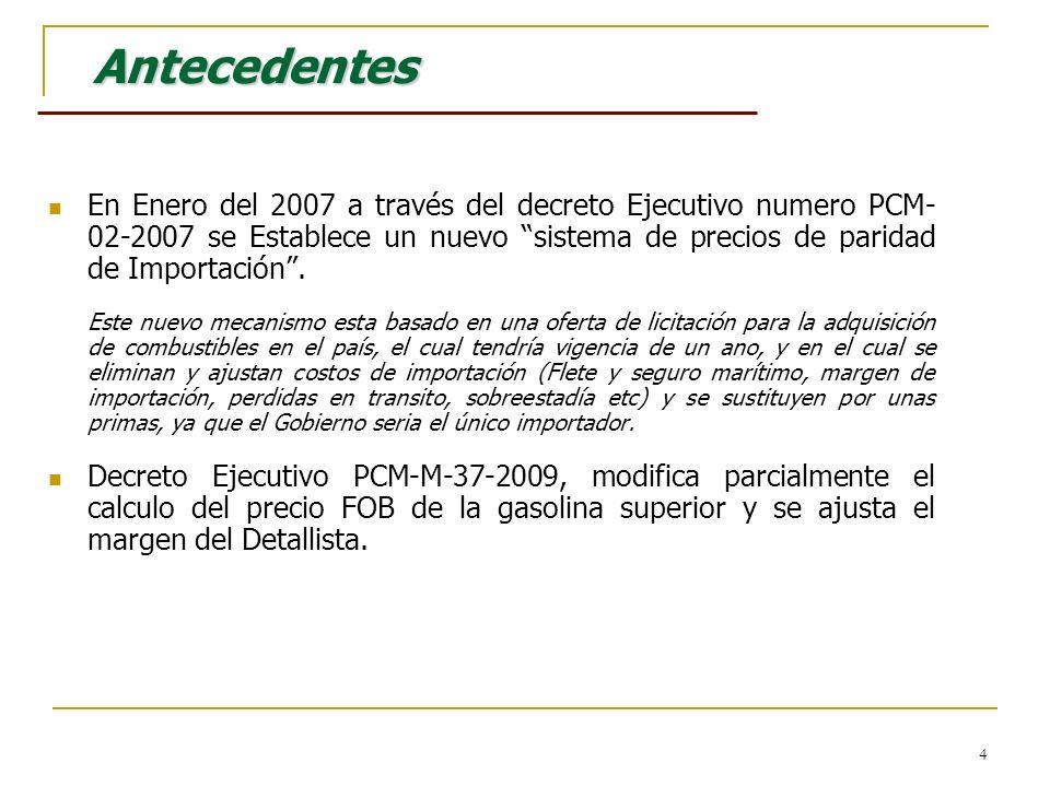 4 Antecedentes Antecedentes En Enero del 2007 a través del decreto Ejecutivo numero PCM- 02-2007 se Establece un nuevo sistema de precios de paridad d