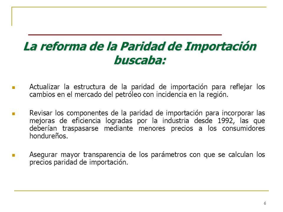 6 La reforma de la Paridad de Importación buscaba: Actualizar la estructura de la paridad de importación para reflejar los cambios en el mercado del p