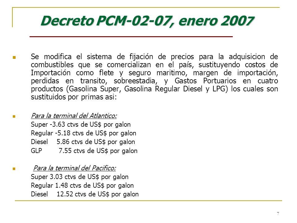 7 Decreto PCM-02-07, enero 200 7 Se modifica el sistema de fijación de precios para la adquisicion de combustibles que se comercializan en el país, su