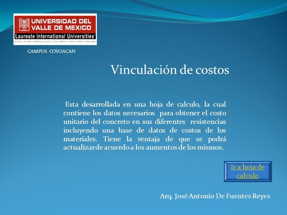 Arq. José Antonio De Fuentes Reyes CAMPUS COYOACAN Vinculación de costos Esta desarrollada en una hoja de calculo, la cual contiene los datos necesari