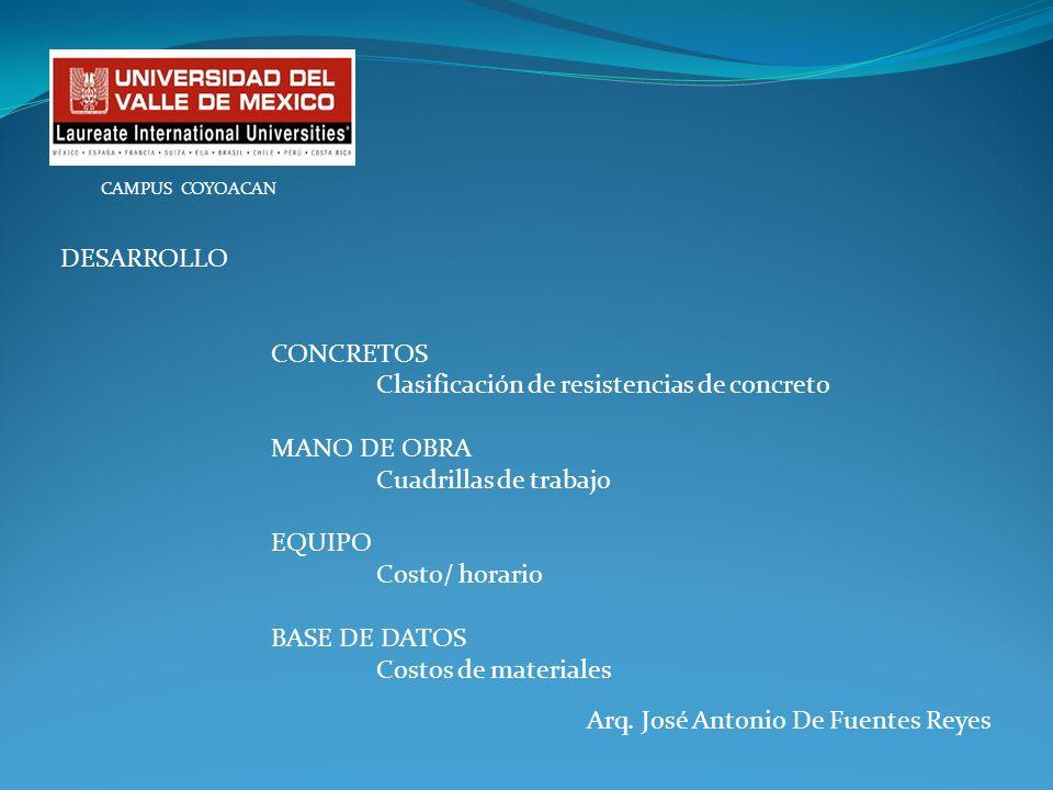 Arq. José Antonio De Fuentes Reyes CAMPUS COYOACAN DESARROLLO CONCRETOS Clasificación de resistencias de concreto MANO DE OBRA Cuadrillas de trabajo E