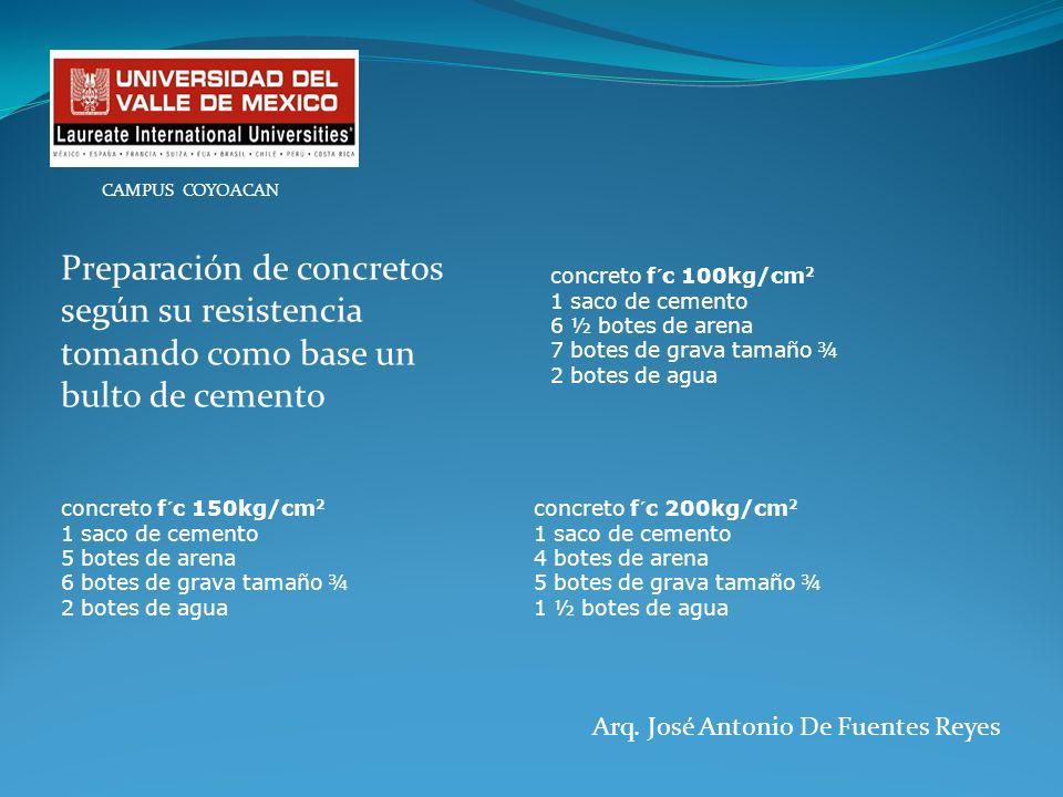 Arq. José Antonio De Fuentes Reyes CAMPUS COYOACAN concreto f´c 100kg/cm 2 1 saco de cemento 6 ½ botes de arena 7 botes de grava tamaño ¾ 2 botes de a
