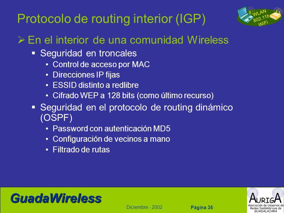 WLAN 802.11b WiFi Diciembre - 2002 GuadaWireless Página 35 Protocolo de routing interior (IGP) En el interior de una comunidad Wireless Seguridad en t