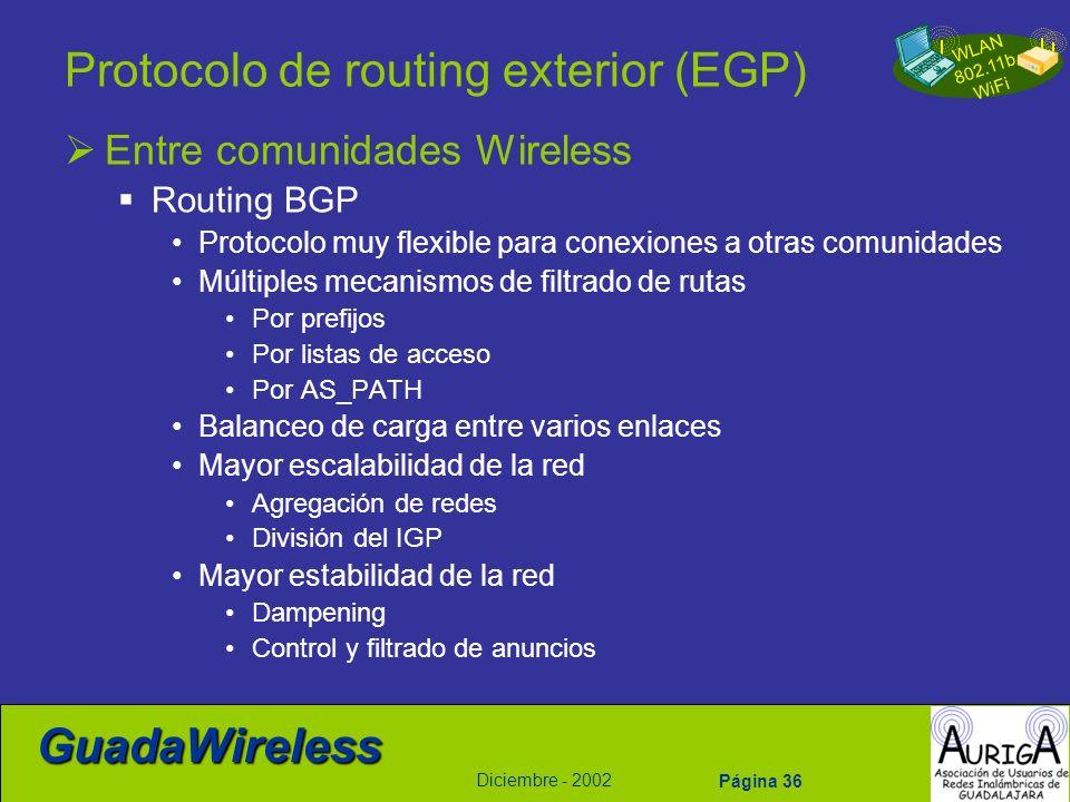 WLAN 802.11b WiFi Diciembre - 2002 GuadaWireless Página 36 Protocolo de routing exterior (EGP) Entre comunidades Wireless Routing BGP Protocolo muy fl