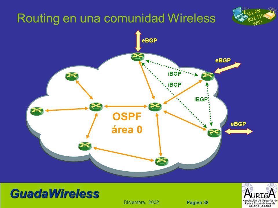 WLAN 802.11b WiFi Diciembre - 2002 GuadaWireless Página 38 Routing en una comunidad Wireless eBGP iBGP OSPF área 0