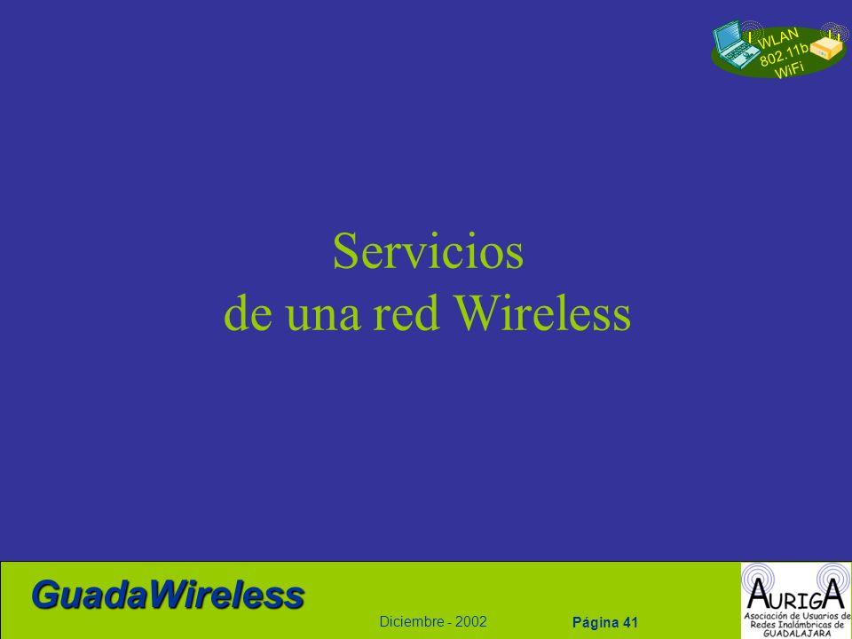 WLAN 802.11b WiFi Diciembre - 2002 GuadaWireless Página 41 Servicios de una red Wireless