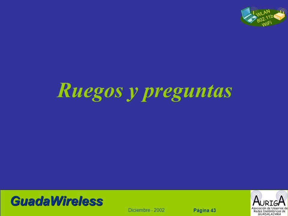 WLAN 802.11b WiFi Diciembre - 2002 GuadaWireless Página 43 Ruegos y preguntas
