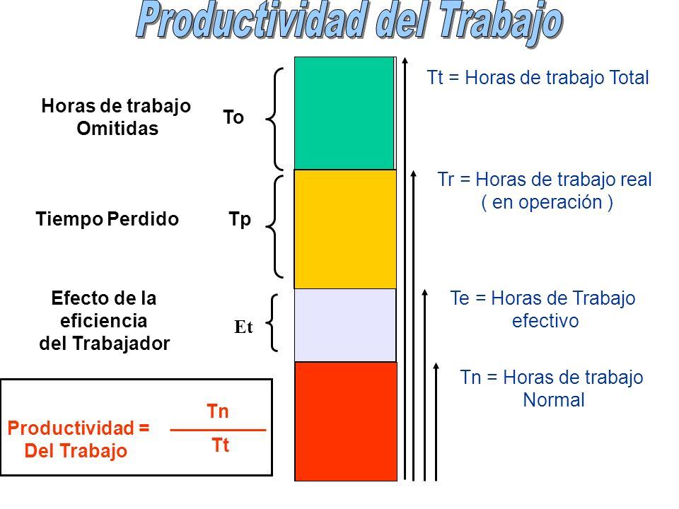 Et Tt = Horas de trabajo Total Tr = Horas de trabajo real ( en operación ) Te = Horas de Trabajo efectivo Tn = Horas de trabajo Normal Horas de trabaj