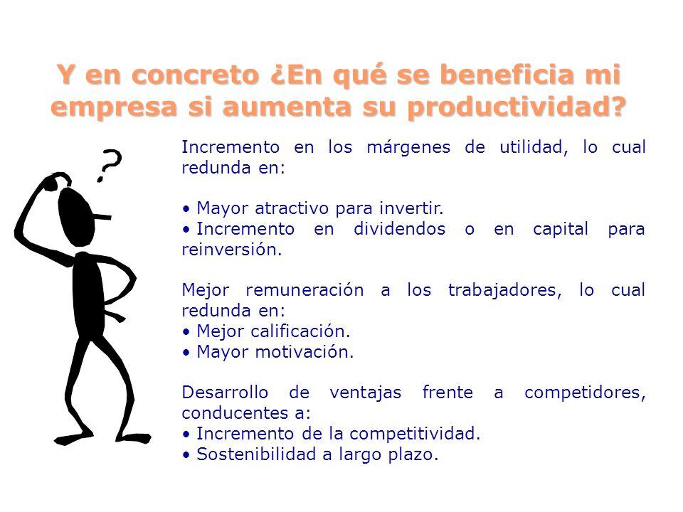 Y en concreto ¿En qué se beneficia mi empresa si aumenta su productividad? Incremento en los márgenes de utilidad, lo cual redunda en: Mayor atractivo