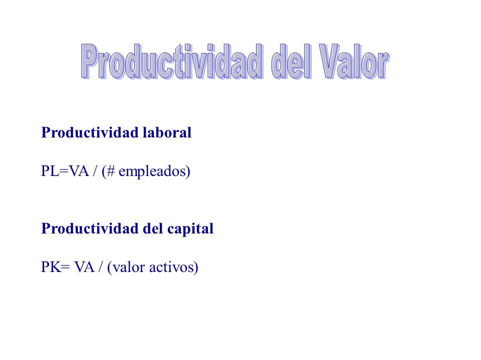 Productividad laboral PL=VA / (# empleados) Productividad del capital PK= VA / (valor activos)
