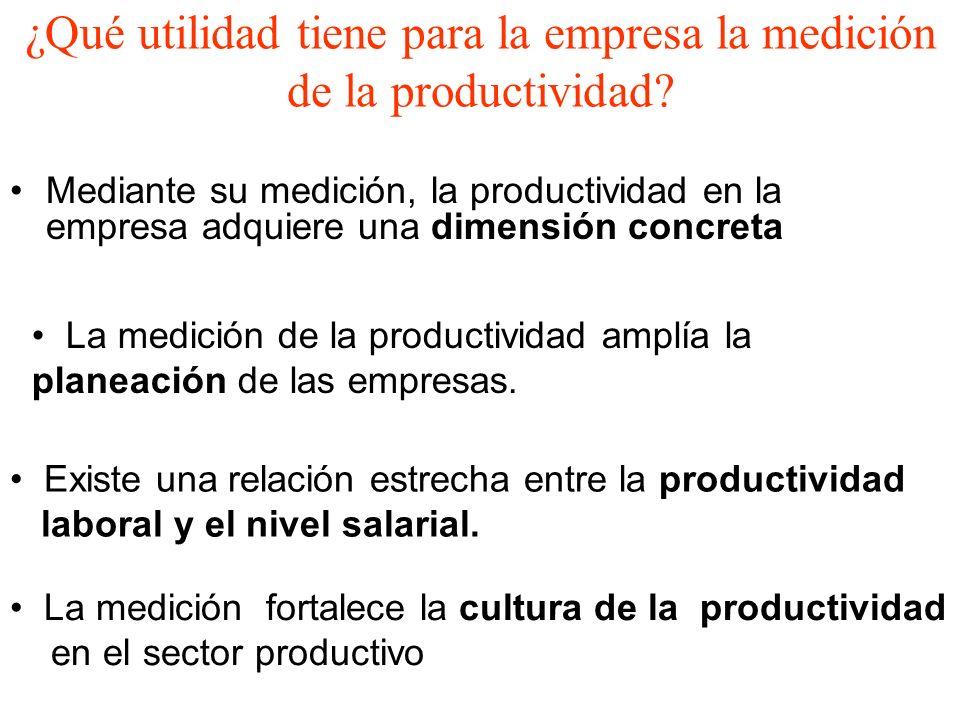 ¿Qué utilidad tiene para la empresa la medición de la productividad? Mediante su medición, la productividad en la empresa adquiere una dimensión concr
