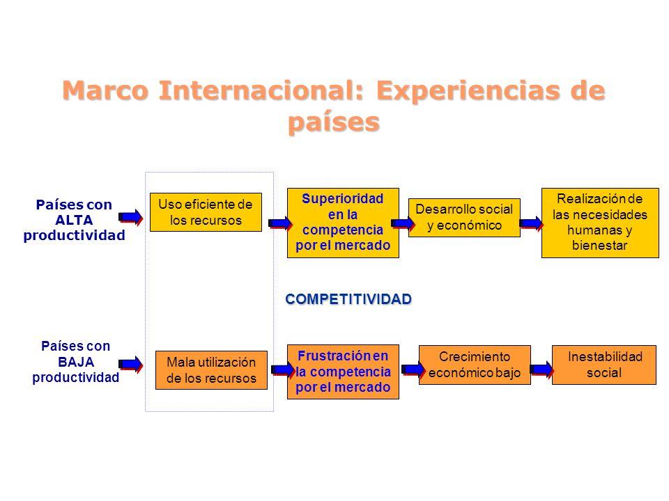 Marco Internacional: Experiencias de países Países con ALTA productividad Países con BAJA productividad Superioridad en la competencia por el mercado