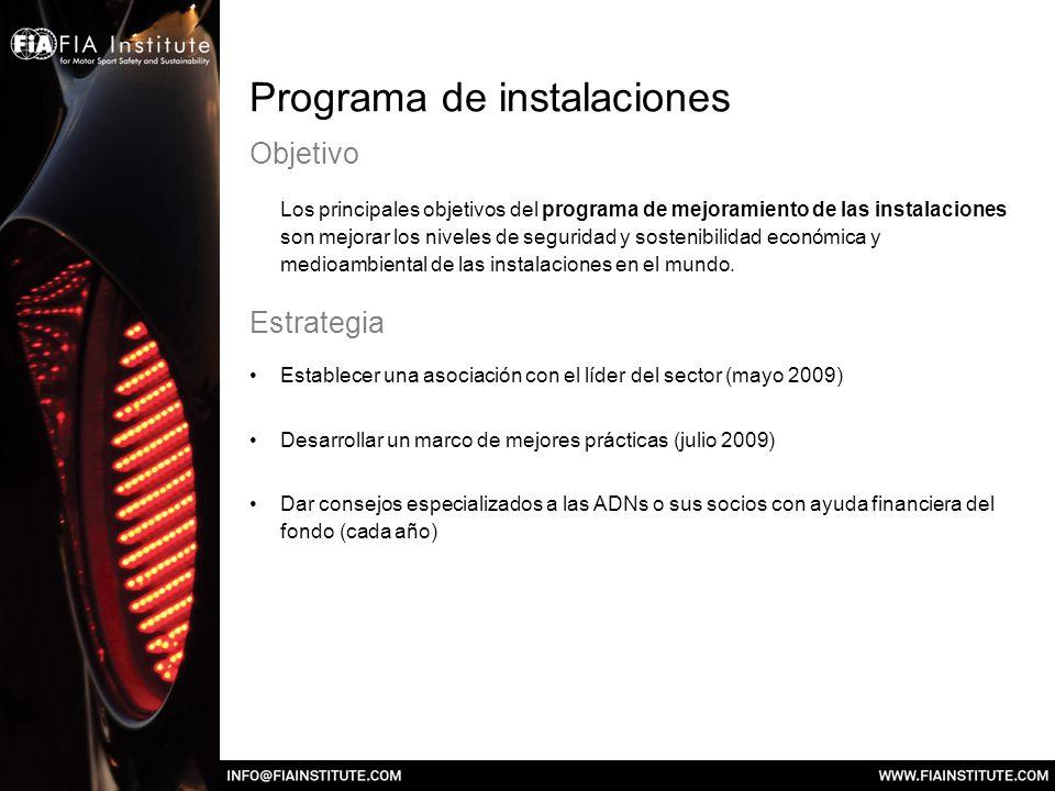 Programa de instalaciones Objetivo Los principales objetivos del programa de mejoramiento de las instalaciones son mejorar los niveles de seguridad y