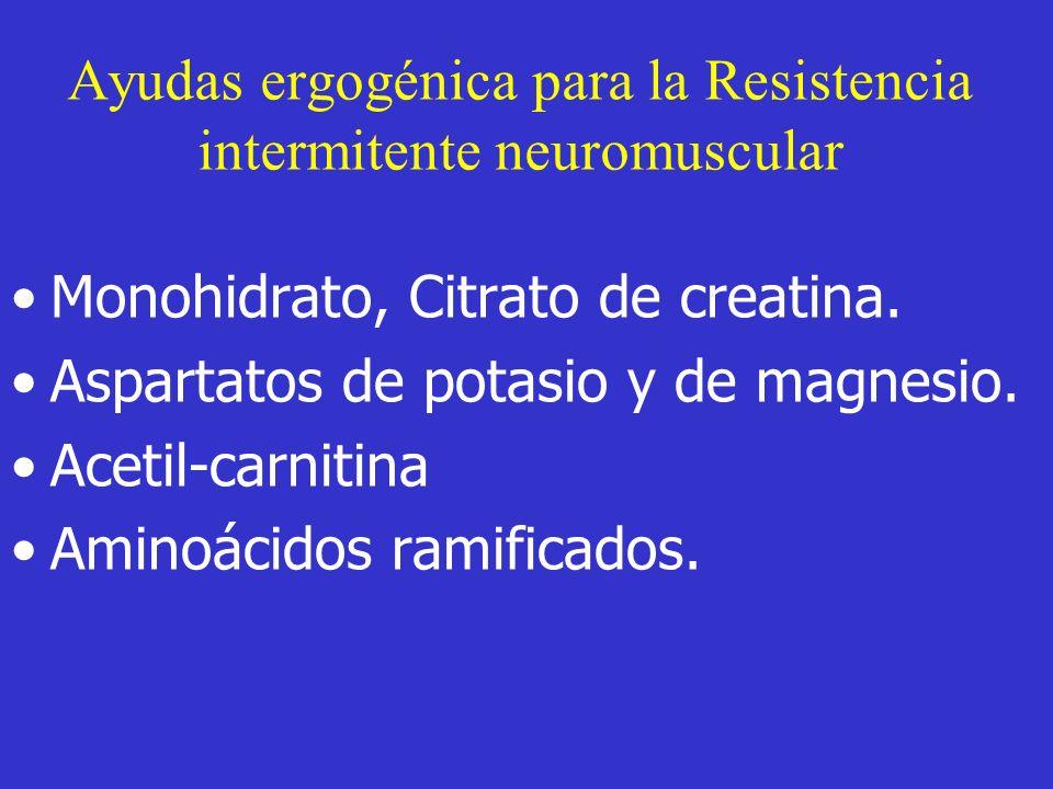 Ayudas ergogénica para la Resistencia intermitente neuromuscular Monohidrato, Citrato de creatina. Aspartatos de potasio y de magnesio. Acetil-carniti