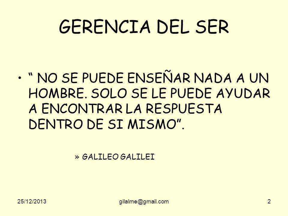 25/12/2013gilalme@gmail.com2 GERENCIA DEL SER NO SE PUEDE ENSEÑAR NADA A UN HOMBRE.