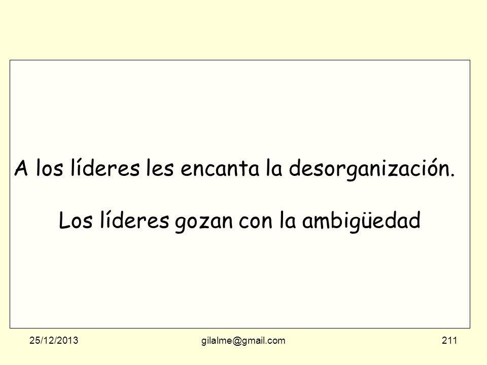 25/12/2013gilalme@gmail.com210 A los líderes les encanta la desorganización. Los líderes gozan con la ambigüedad