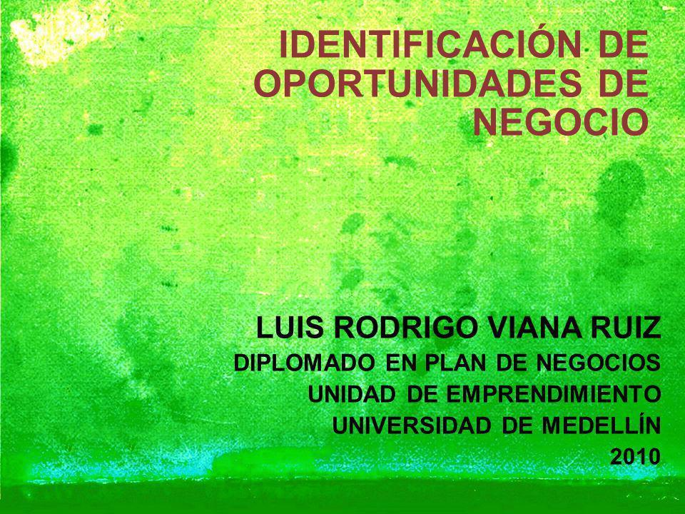 IDENTIFICACIÓN DE OPORTUNIDADES DE NEGOCIO LUIS RODRIGO VIANA RUIZ DIPLOMADO EN PLAN DE NEGOCIOS UNIDAD DE EMPRENDIMIENTO UNIVERSIDAD DE MEDELLÍN 2010