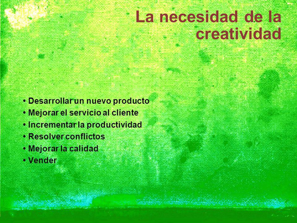 La necesidad de la creatividad Desarrollar un nuevo producto Mejorar el servicio al cliente Incrementar la productividad Resolver conflictos Mejorar l
