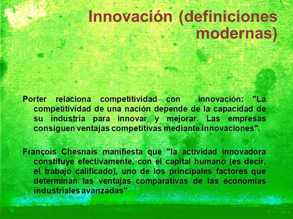 Innovación (definiciones modernas) Porter relaciona competitividad con innovación: