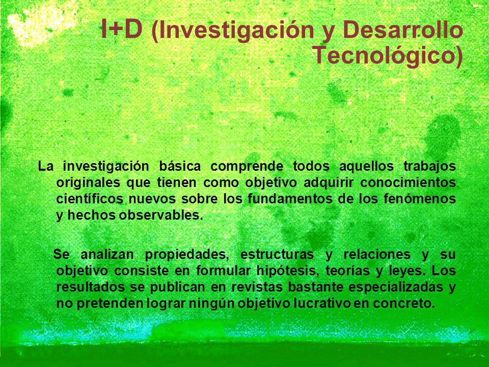 I+D (Investigación y Desarrollo Tecnológico) La investigación básica comprende todos aquellos trabajos originales que tienen como objetivo adquirir co