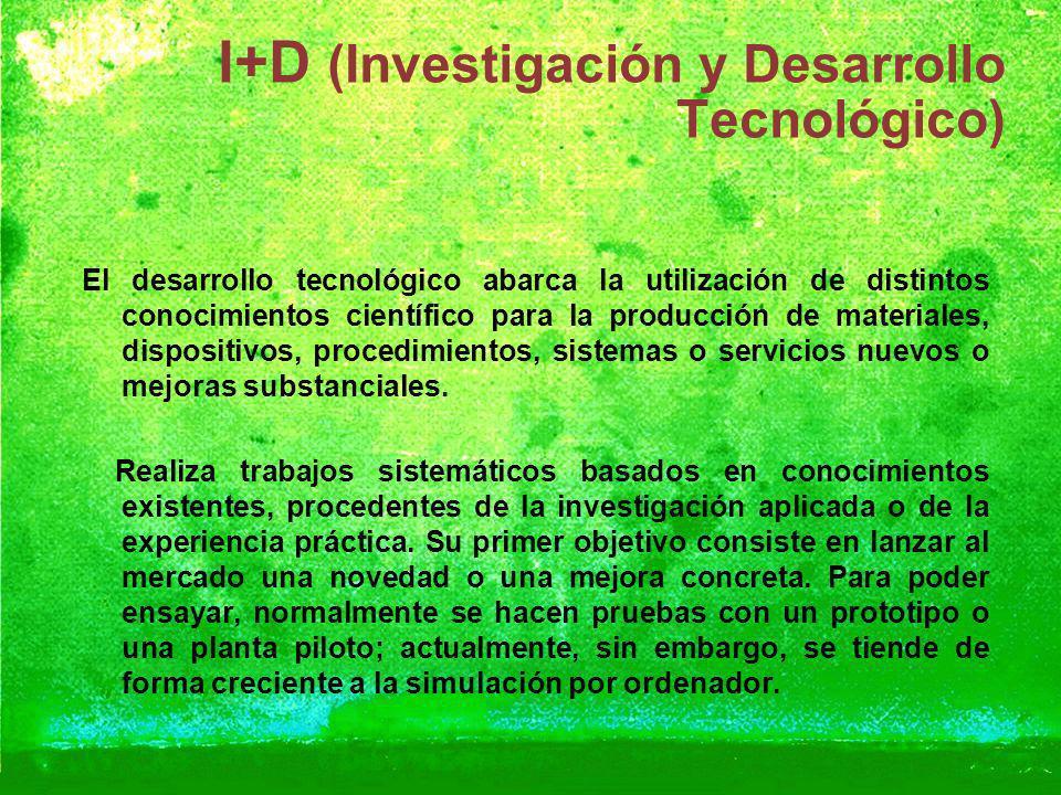 I+D (Investigación y Desarrollo Tecnológico) El desarrollo tecnológico abarca la utilización de distintos conocimientos científico para la producción