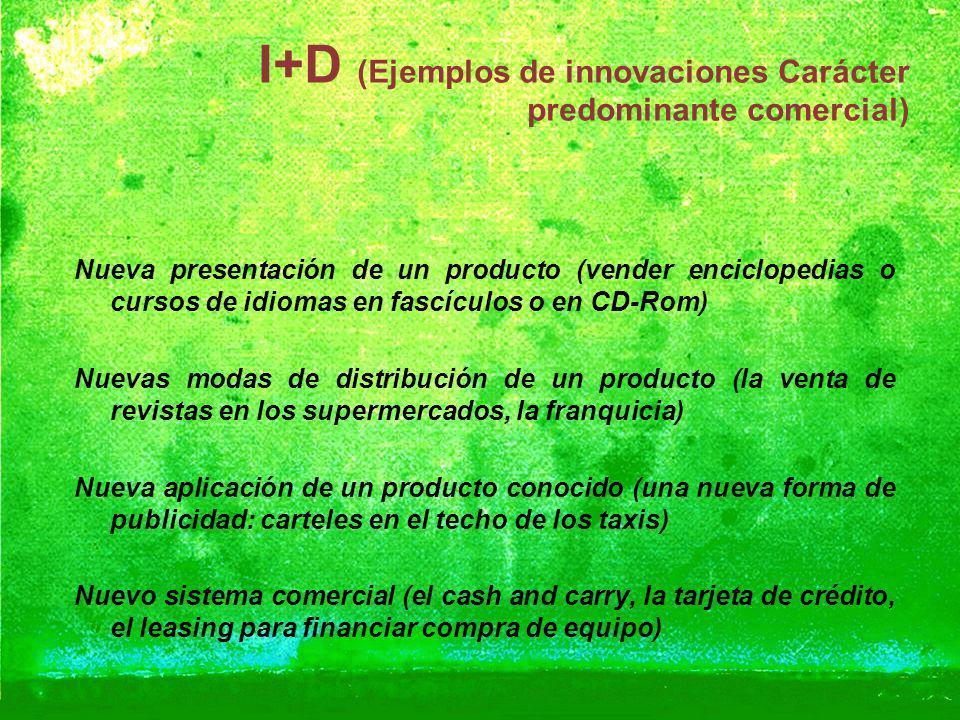 I+D (Ejemplos de innovaciones Carácter predominante comercial) Nueva presentación de un producto (vender enciclopedias o cursos de idiomas en fascícul