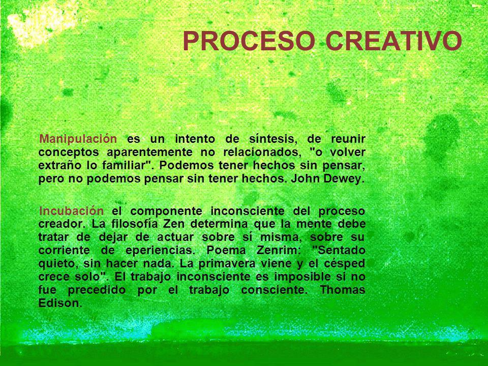 PROCESO CREATIVO Manipulación es un intento de síntesis, de reunir conceptos aparentemente no relacionados,