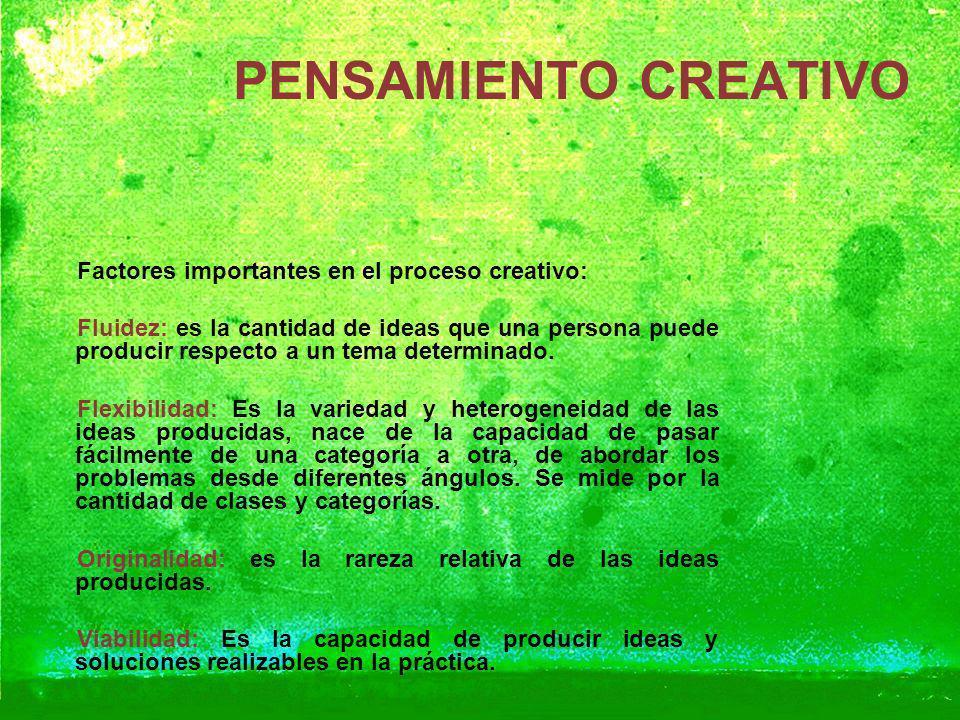 PENSAMIENTO CREATIVO Factores importantes en el proceso creativo: Fluidez: es la cantidad de ideas que una persona puede producir respecto a un tema d