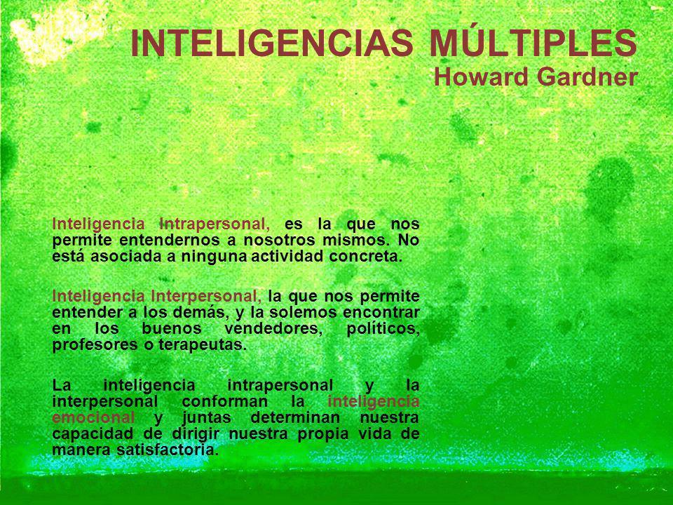 INTELIGENCIAS MÚLTIPLES Howard Gardner Inteligencia Intrapersonal, es la que nos permite entendernos a nosotros mismos. No está asociada a ninguna act