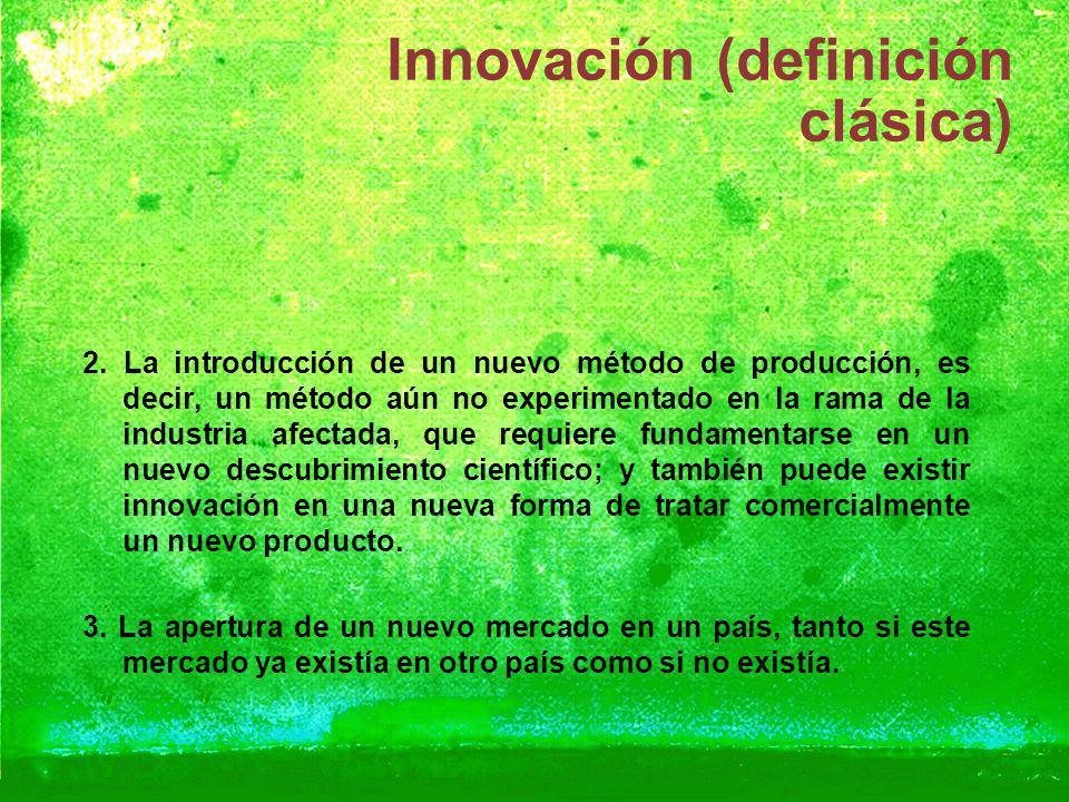 Innovación (definición clásica) 2. La introducción de un nuevo método de producción, es decir, un método aún no experimentado en la rama de la industr