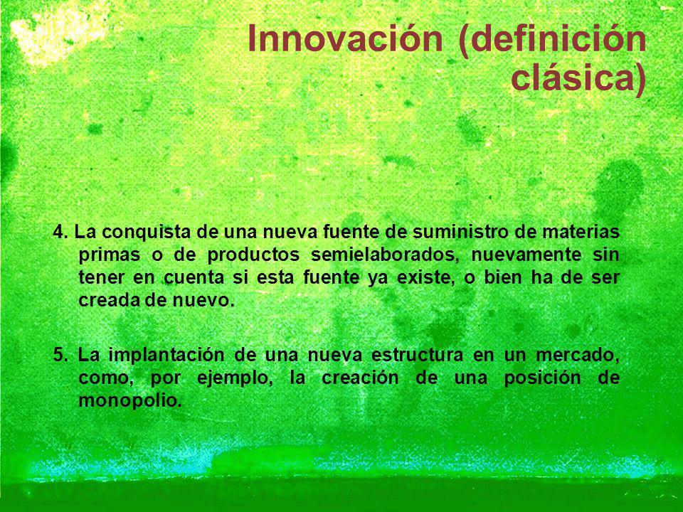 Innovación (definición clásica) 4. La conquista de una nueva fuente de suministro de materias primas o de productos semielaborados, nuevamente sin ten